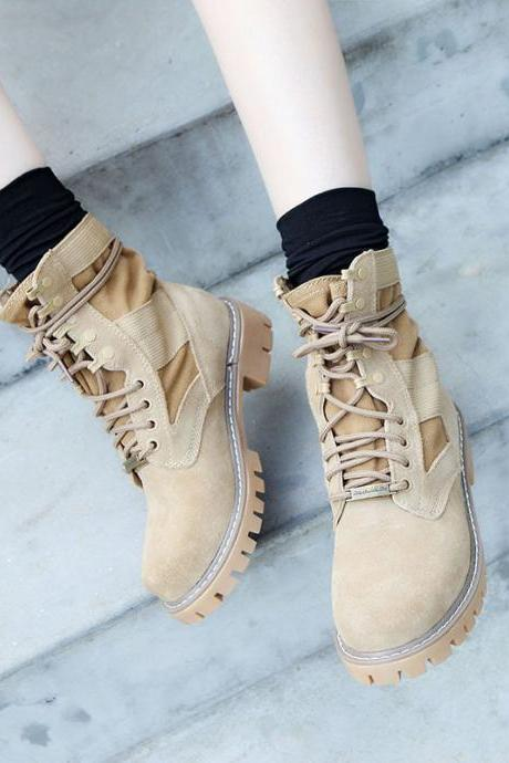 Retro Round Toe Lace UP Low Chunky Heels Short Martin Boots