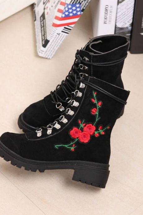 Embroider Round Toe Lace Up Low Chunky Heels Short Martin Boots