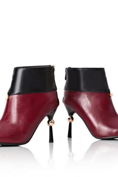 Two-toned Pointed-Toe Stiletto Ankle Boots