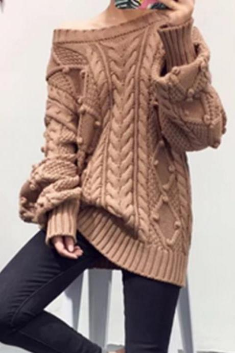 Cable Lantern Sleeves Loose Long Pullover Sweater