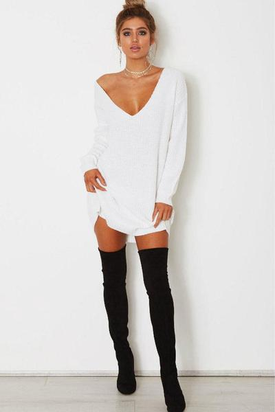 Knitted Plunge V Long Cuffed Sleeves Oversized Sweater