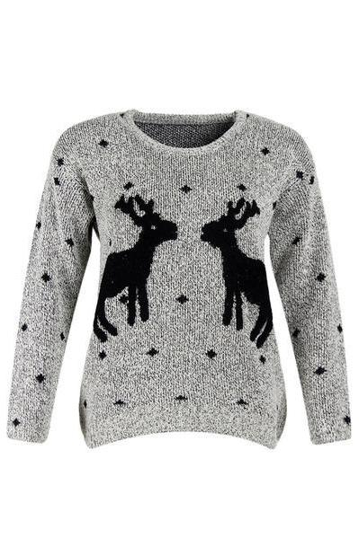 Deer Pattern Christmas Scoop Loose Sweater
