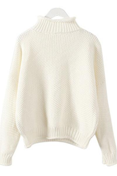 Candy Color High Neck Loose Pullover Sweater
