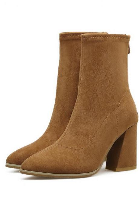 Faux Suede Pointed-Toe Chunky Heel Mid-Calf Boots