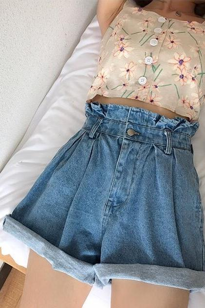 Ruffles High Waist Curled Edge Solid Color Shorts