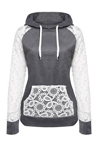 Lace Patchwork Drawstring Pocket Slim Hoodie
