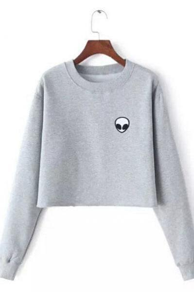 Scoop Pure Color Long Sleeves Short Sweatshirt