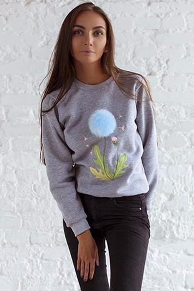 PomPom Ball Decorate Slim Pure Color Sweatshirt