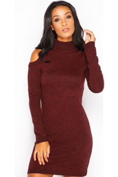 Bear Shoulder High Neck Long Slim Sweater