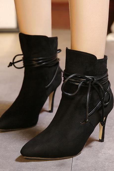 Faux Suede Pointed-Toe High Heel Mid-Calf Boots Featuring Lace-Up Detailing