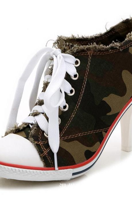 Camouflage Round Toe Lace Up Stiletto Middle Heels Short Boots