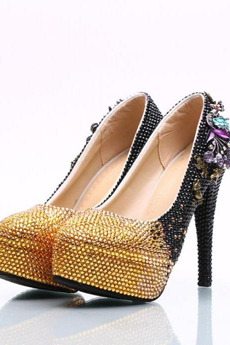 Gradient Crystal Rhinestone Platform Super Stiletto High Heels Party Shoes