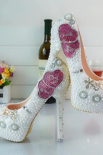 Crystal Beads Round Toe Low Cut Stiletto High Heels Party Bridal Shoes