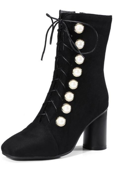 Suede Zipper Pure color Rivets Chunky Heel Square Toe High Heels