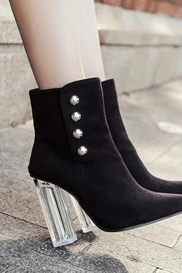 Suede Pure Color Chunky Heel Pionted Toe Zipper High Heels