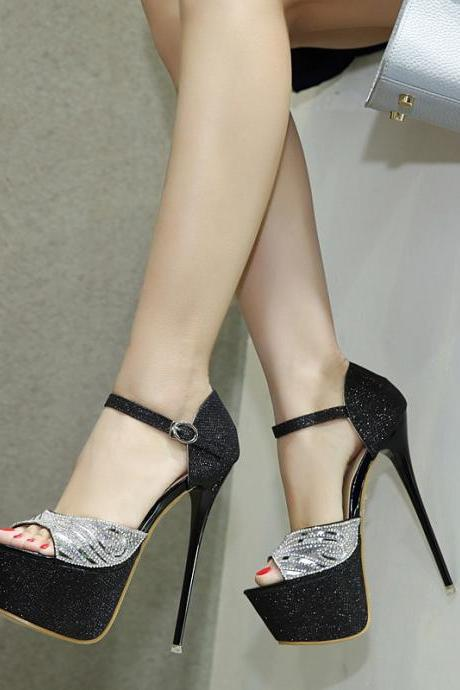 PU Pacthwork Stiletto Heel Peep-toe Ankle Strap High Heels