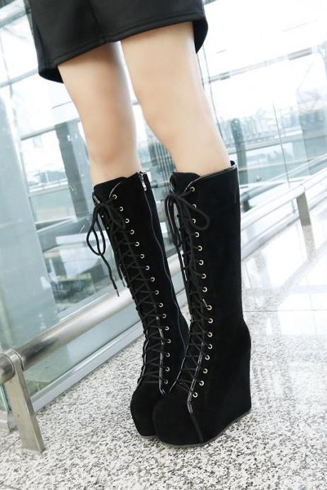 Pure Color Suede Slope Heel Round Toe Long Boots