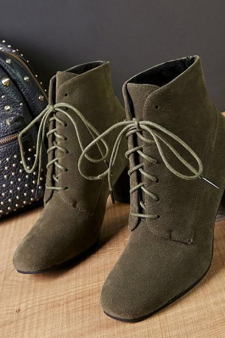 Square Toe Suede Lace-Up Chunky Heel Ankle Boots