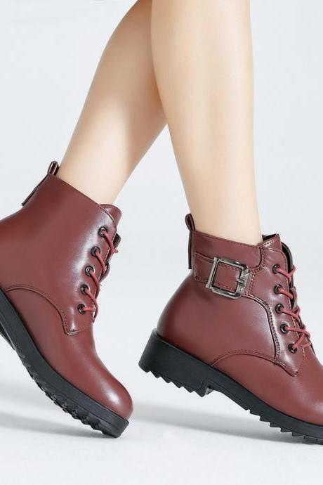 Chunky Heel PU Pure Color Round Toe Lace-up Short Boots