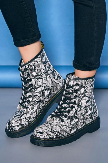 Print PU Chunky Heel Round Toe Lace-up Short Boots
