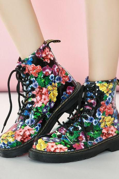 Floral Print Lace-Up Flat Short Boots