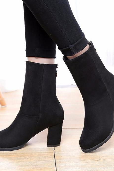 Suede Pure Color High Heels Round Toe Zipper Boots