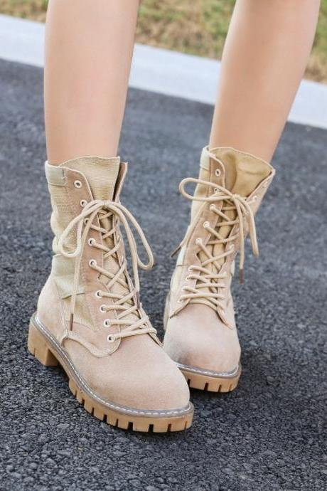 PU Pure Color Chunky Heel Round Toe Lace-Up Boots