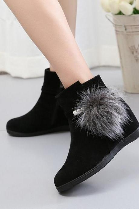 Suede Pure Color Slope Heel Round Toe Short Boots