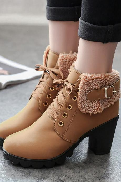 Cloth Pure Color Chunky Heel Round Toe Short Boots