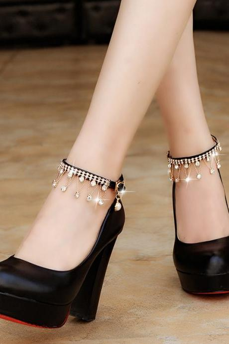 Rounded Toe Faux Leather Chunky High Heel Pump with Diamond Fringe Ankle Strap