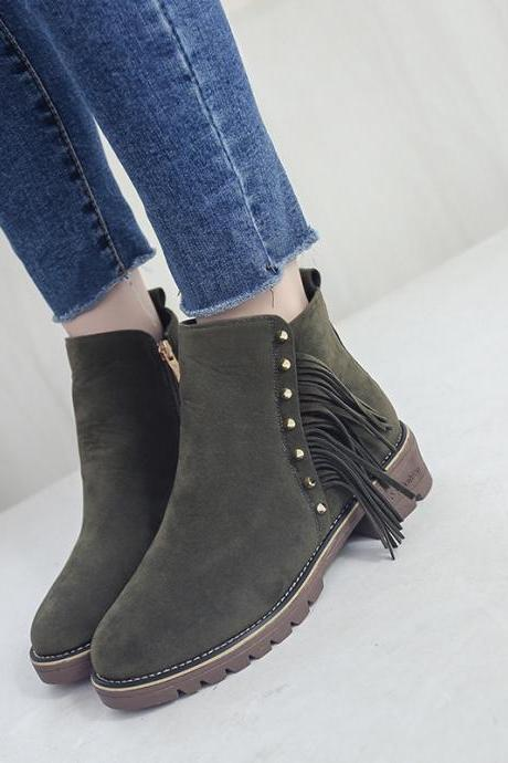 Scrub Pure color Lace-Up Rivets Chunky Heel Round Toe Boots