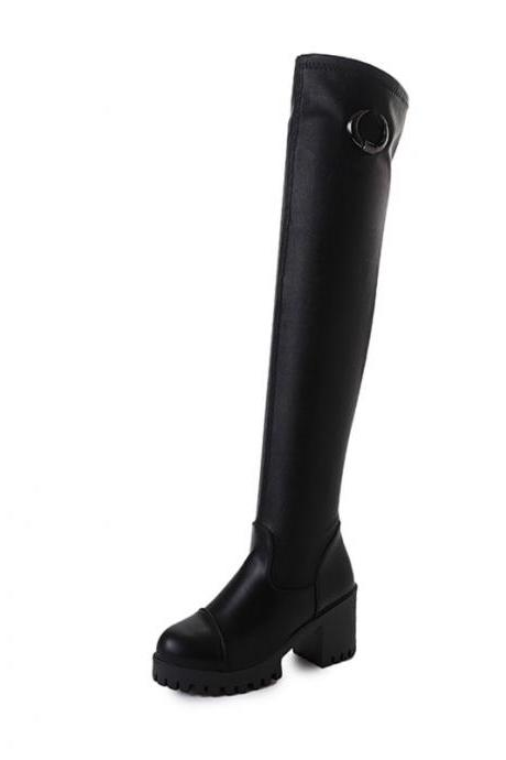 PU Pure Color Chunky Heel Round Toe High Boots
