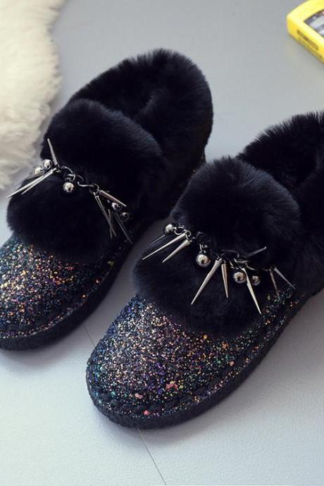 Round Toe Glittered Fur Flat Short Boots