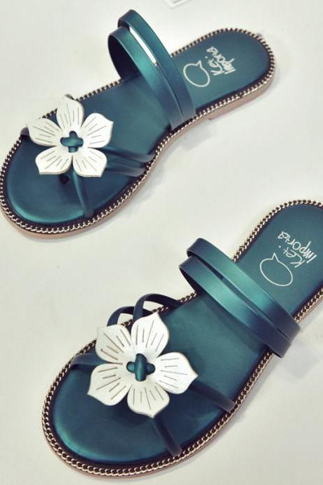 Open-Toe Floral Flat Flip-Flop Sandals, Slippers