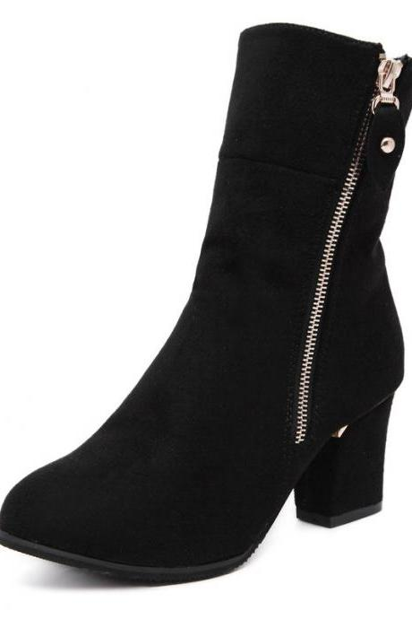 Suede Pure Color Chunky Heel Round Toe Zipper Short Boots
