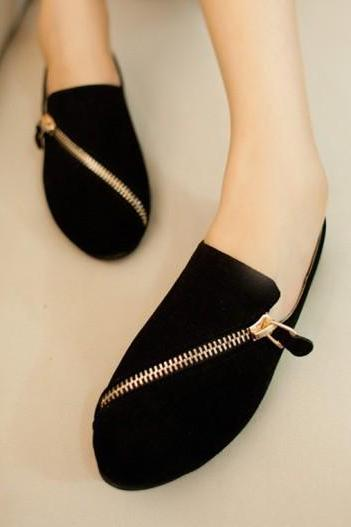 Faux Suede Rounded-Toe Loafers Featuring Gold Zipper Detailing