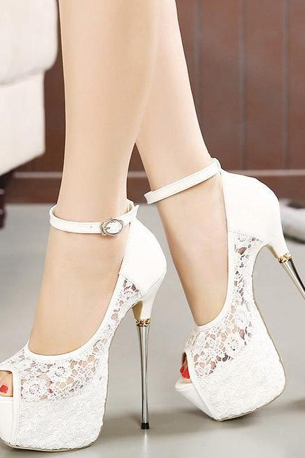 PU Pure Color Stiletto Heel Peep Toe Ankle Strap High Heels