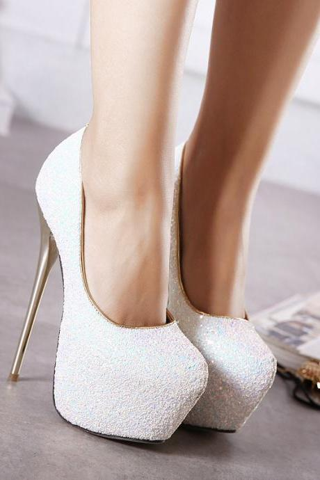 Pure Color PU Stiletto Heel Round Toe High Heels