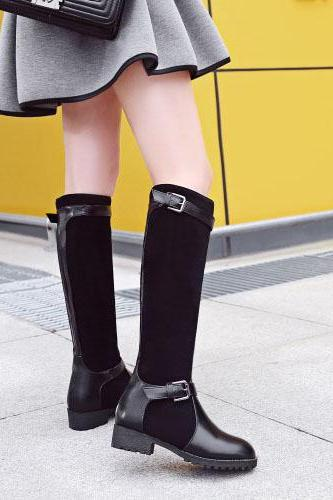 Scrub Chunky Heel Pure Color Round Toe Long Boots