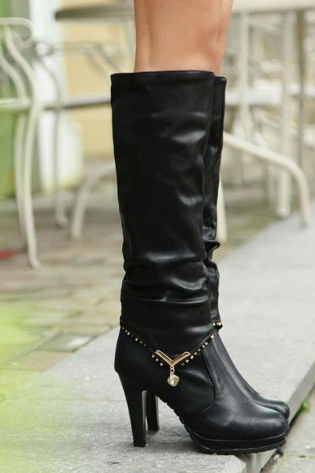 PU Stiletto Heel Pure Color Round Toe Long Boots