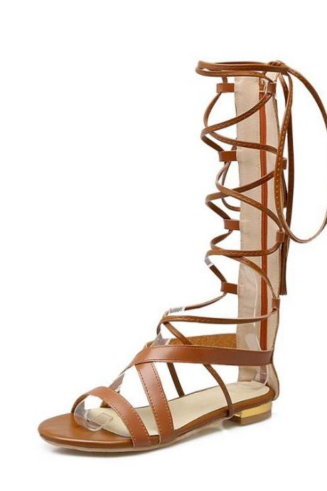 Open-Toe Lace-Up Gladiator Flat Sandals