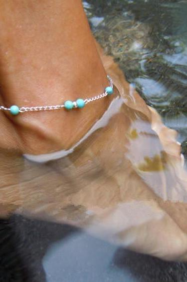 Turquoise Bead Chains Anklets