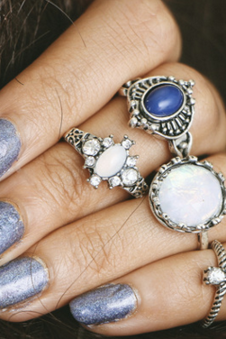 Fashion Personality Gem 4 Pieces Of Each Ring Set