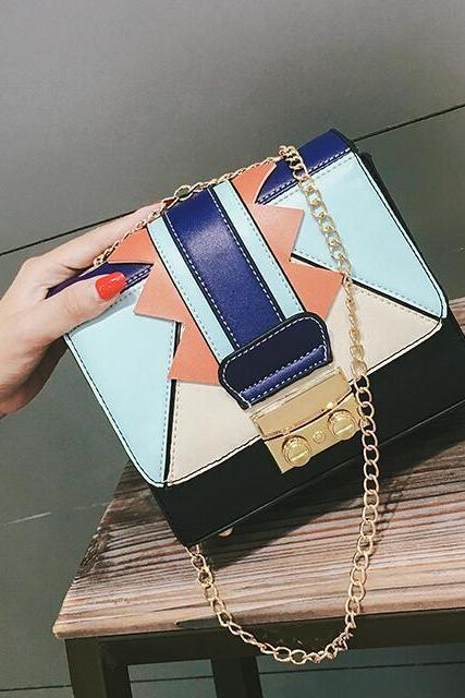 Geometric Color Block Chain Crossbody Bag