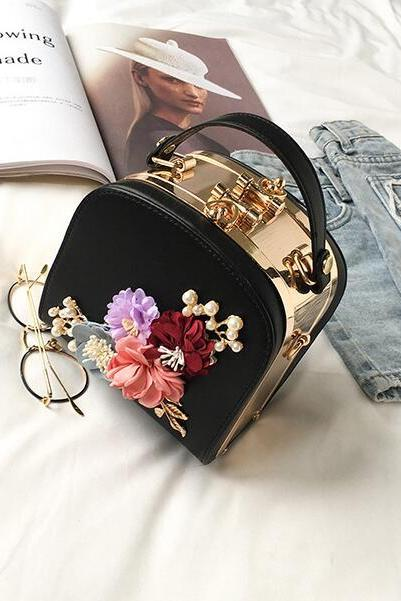 Flower Rhinestone Design Crossbody Bag