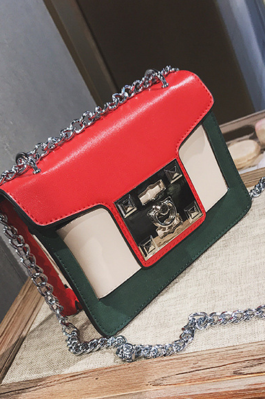 Fashion Color Block Lock Adornment Crossbody Bag
