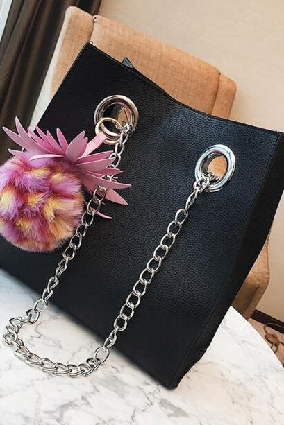 Floral Ball Pendant Chain Crossbody Bag