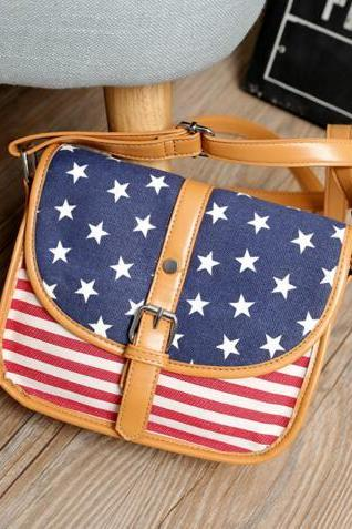 Color Block Stars And Stripes Crossbody Bag