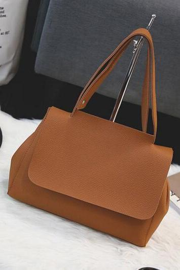 Simple Plain PU Women Shoulder Bag