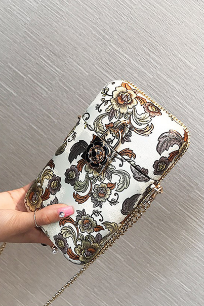 Retro Floral Printing Chain Crossbody Bag